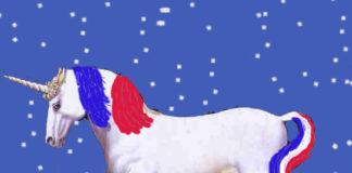 licorne bleu blanc rouge